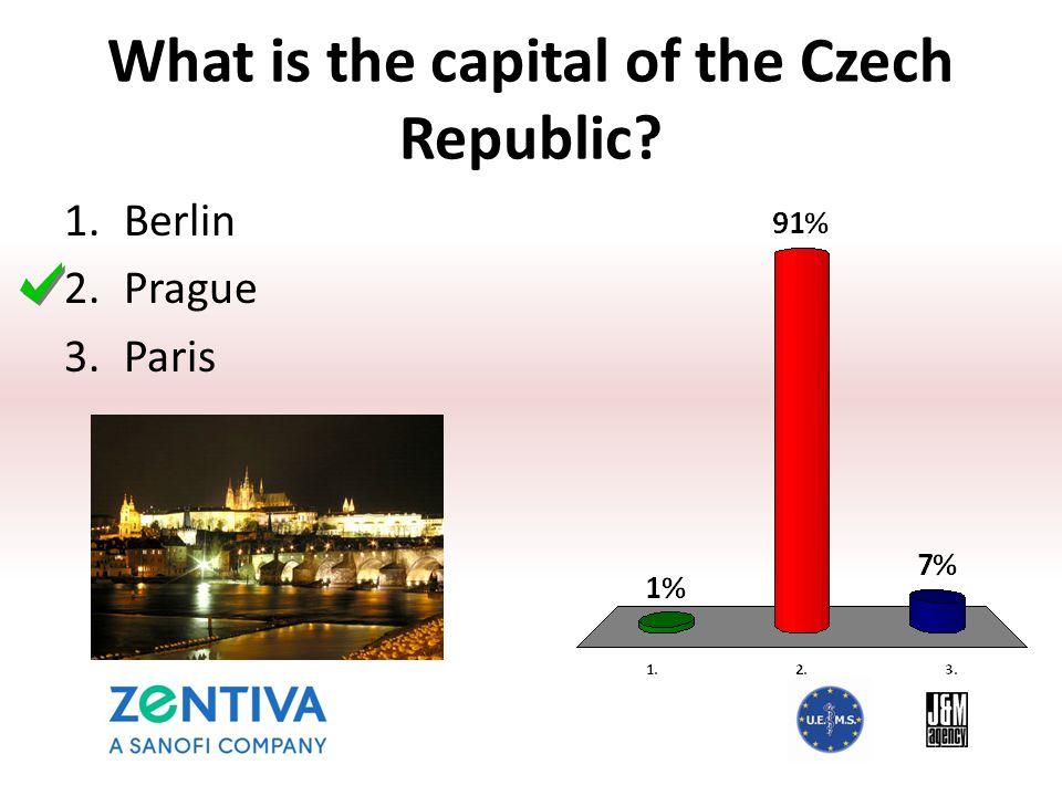 What is the capital of the Czech Republic? 1.Berlin 2.Prague 3.Paris