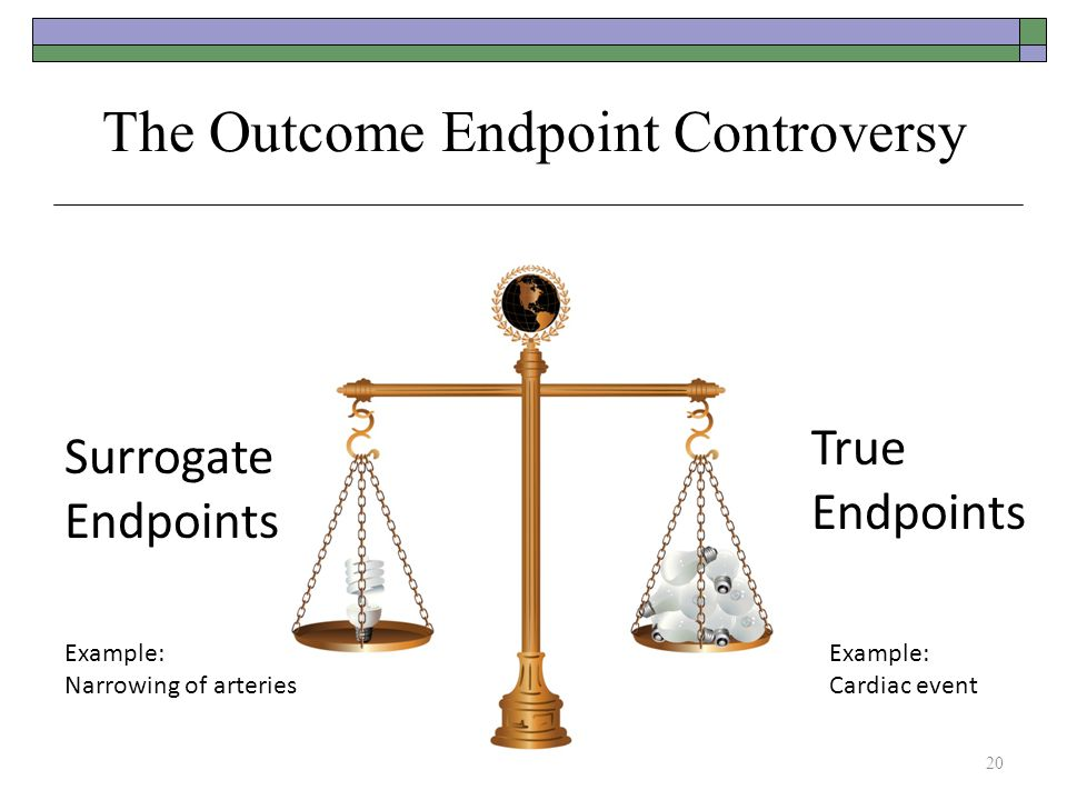 The Outcome Endpoint Controversy Surrogate Endpoints True Endpoints 20 Example: Narrowing of arteries Example: Cardiac event