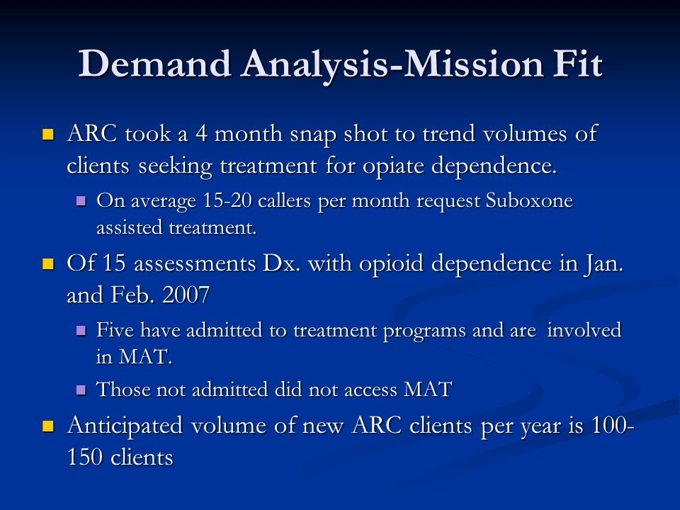 Demand Analysis-Mission Fit ARC took a 4 month snap shot to trend volumes of clients seeking treatment for opiate dependence.
