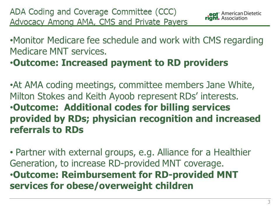 ADA Coding and Coverage Committee (CCC) Advocacy Among AMA, CMS and Private Payers Monitor Medicare fee schedule and work with CMS regarding Medicare MNT services.