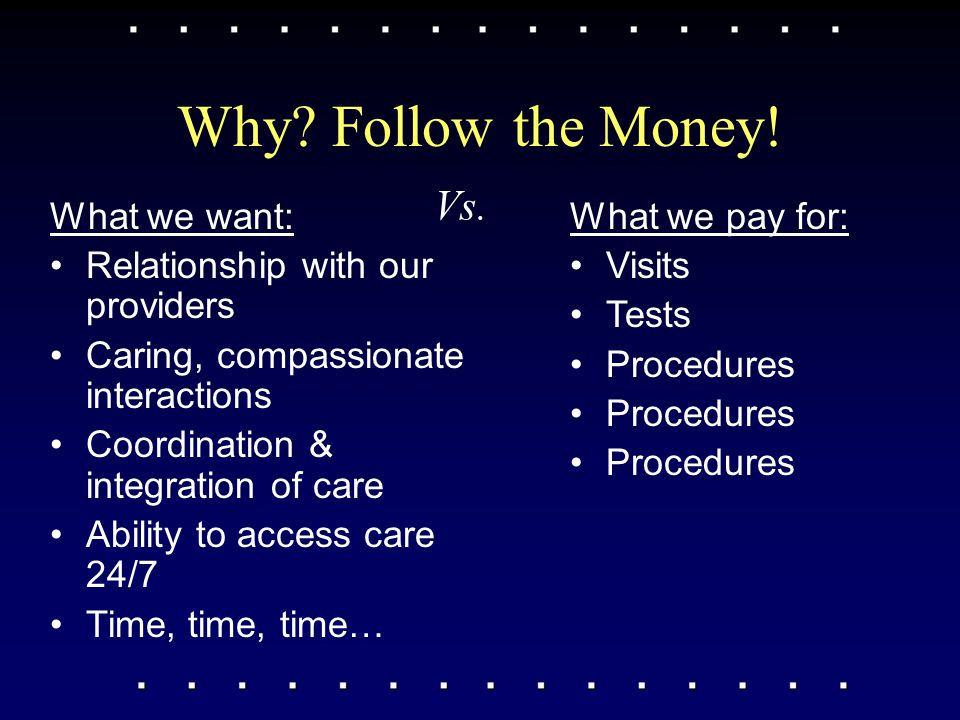 Why? Follow the Money! What we want: Relationship with our providers Caring, compassionate interactions Coordination & integration of care Ability to