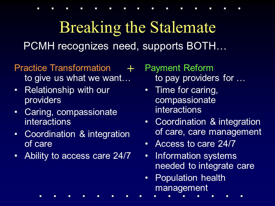 Breaking the Stalemate PCMH recognizes need, supports BOTH… Practice Transformation to give us what we want… Relationship with our providers Caring, c