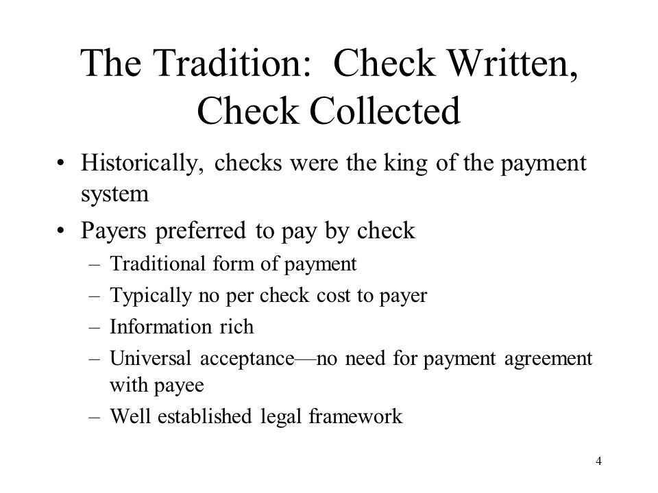 5 The Tradition: Check Written, Check Collected Let's look at the statistics In 1995, Fed estimates 50 billion checks written As late as 2001 (just before the start of the check conversion initiatives I will discuss today), Fed estimates 42.5 billion checks were written General purpose credit cards: 12.3 billion transactions Private label credit cards: 2.7 billion transactions Offline debit (signature based): 5.3 billion transactions Online debit (PIN based): 3.0 billion transactions ACH: 5.6 billion transactions EBT: 0.5 billion transactions