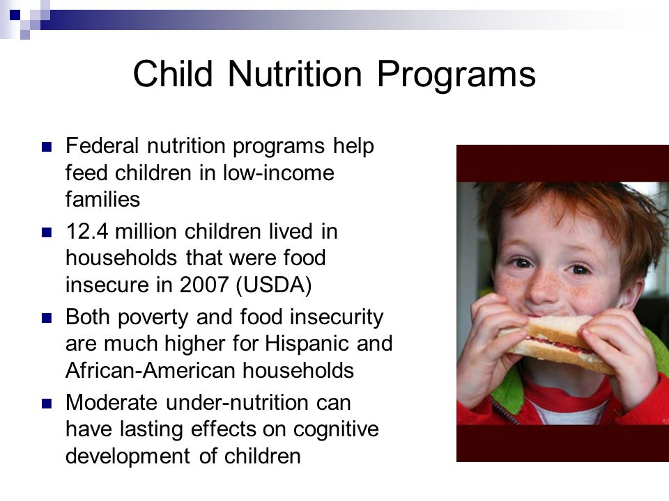 Child Nutrition Programs Federal nutrition programs help feed children in low-income families 12.4 million children lived in households that were food insecure in 2007 (USDA) Both poverty and food insecurity are much higher for Hispanic and African-American households Moderate under-nutrition can have lasting effects on cognitive development of children
