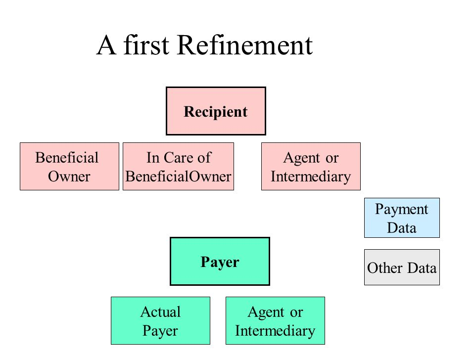 Payer Recipient Payment Data Other Data Agent or Intermediary Actual Payer Beneficial Owner Agent or Intermediary A first Refinement In Care of BeneficialOwner party
