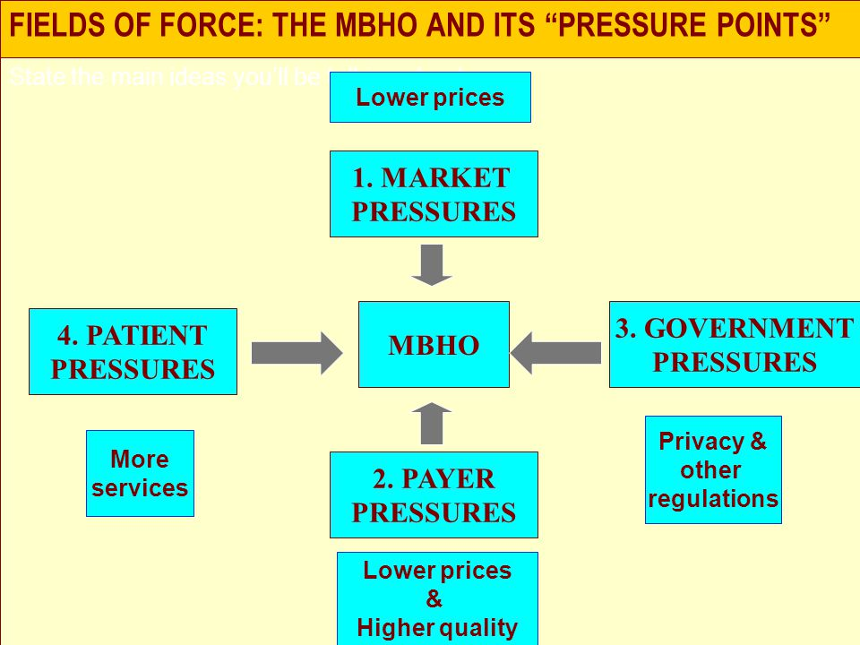 FIELDS OF FORCE: THE MBHO AND ITS PRESSURE POINTS State the main ideas you'll be talking about MBHO 1.