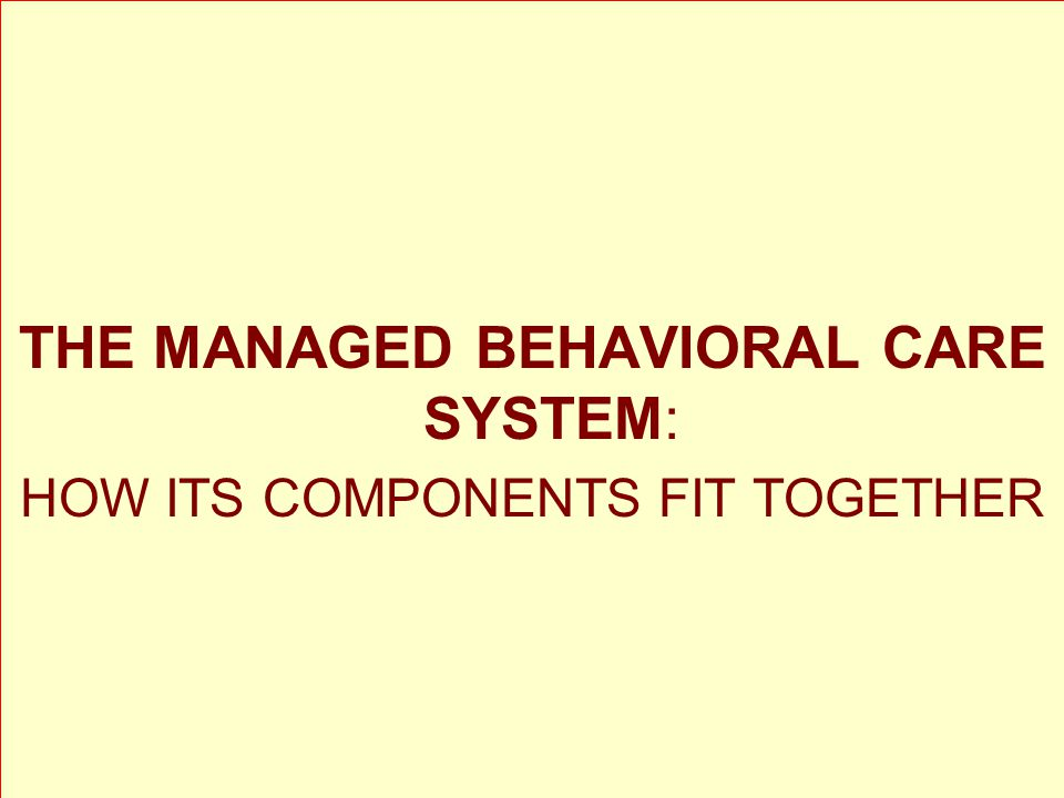 THE MANAGED BEHAVIORAL CARE SYSTEM: HOW ITS COMPONENTS FIT TOGETHER