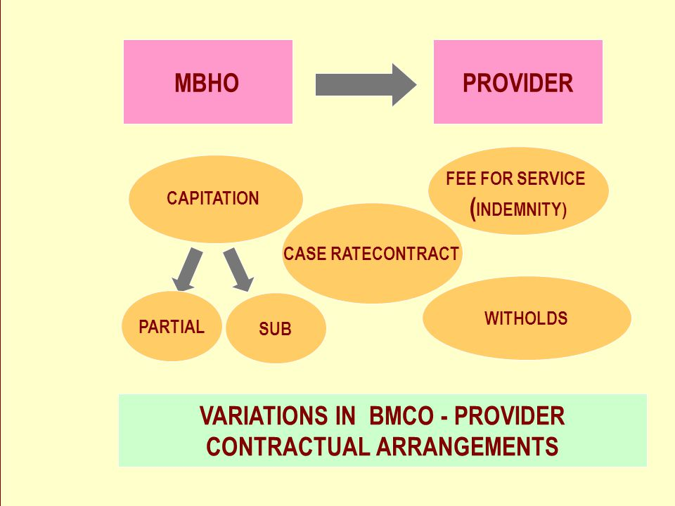 18 David Katz PROVIDERMBHO CAPITATION SUB PARTIAL FEE FOR SERVICE ( INDEMNITY) WITHOLDS CASE RATECONTRACT VARIATIONS IN BMCO - PROVIDER CONTRACTUAL ARRANGEMENTS