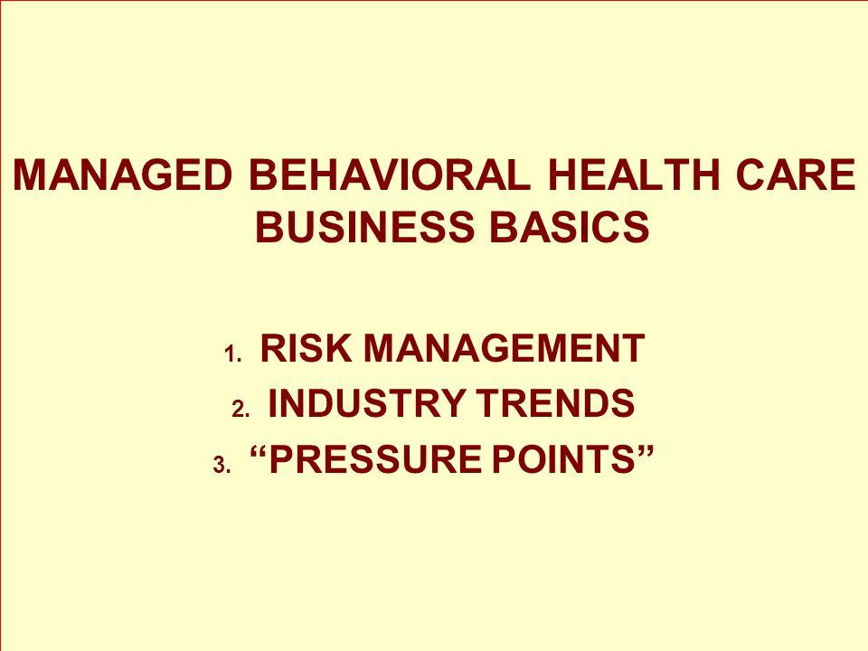 MANAGED BEHAVIORAL HEALTH CARE BUSINESS BASICS 1. RISK MANAGEMENT 2.
