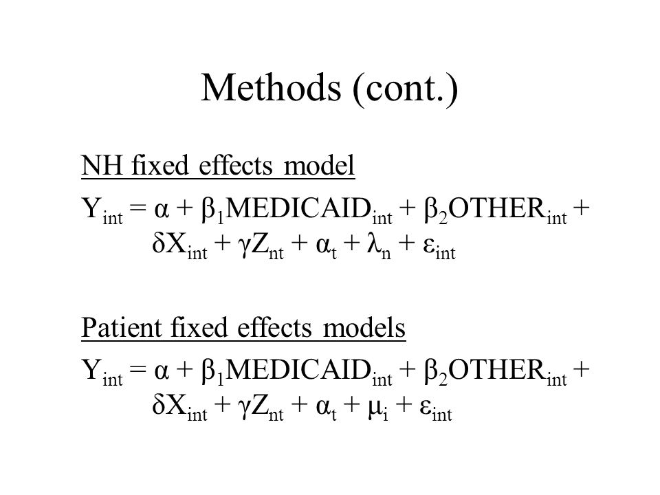 Timing of the Medicaid Effect Y int = α + Σ -k<j<m θ j MEDICAID j int + β 1 OTHER int + δX int + γZ nt + α t + μ i + ε int Replace Medicaid dummy with three lead (or greater) and three (or greater) lag transition terms in the patient-level fixed effects model.