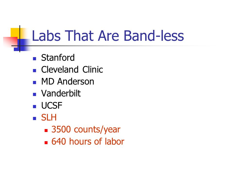 Labs That Are Band-less Stanford Cleveland Clinic MD Anderson Vanderbilt UCSF SLH 3500 counts/year 640 hours of labor