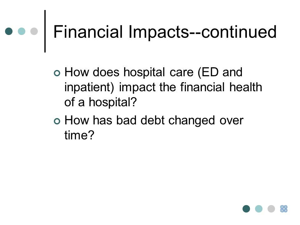 Financial Impacts--continued How does hospital care (ED and inpatient) impact the financial health of a hospital.