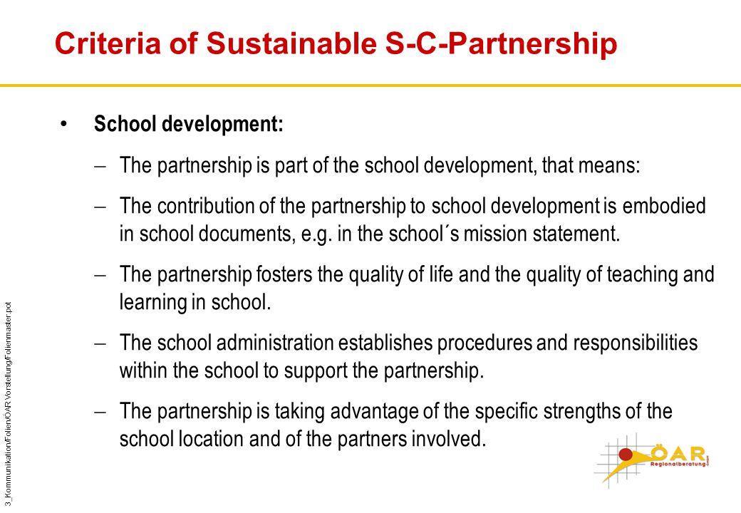 3_Kommunikation/Folien/ÖAR Vorstellung/Folienmaster.pot Criteria of Sustainable S-C-Partnership School development:  The partnership is part of the school development, that means:  The contribution of the partnership to school development is embodied in school documents, e.g.