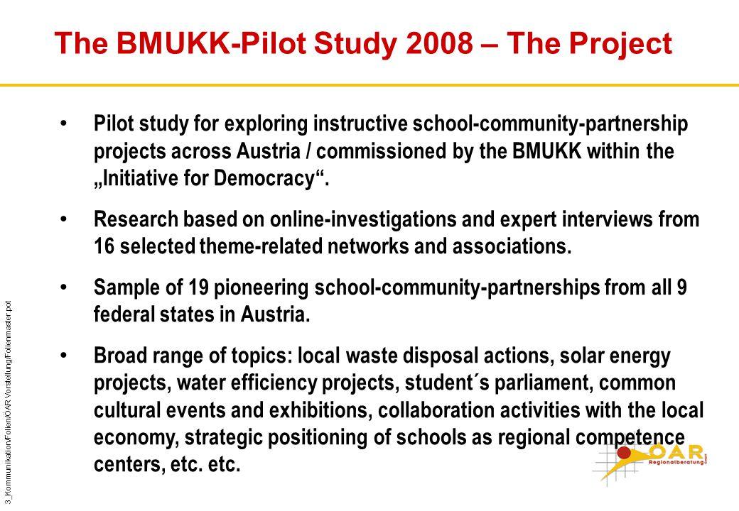 "3_Kommunikation/Folien/ÖAR Vorstellung/Folienmaster.pot The BMUKK-Pilot Study 2008 – The Project Pilot study for exploring instructive school-community-partnership projects across Austria / commissioned by the BMUKK within the ""Initiative for Democracy ."