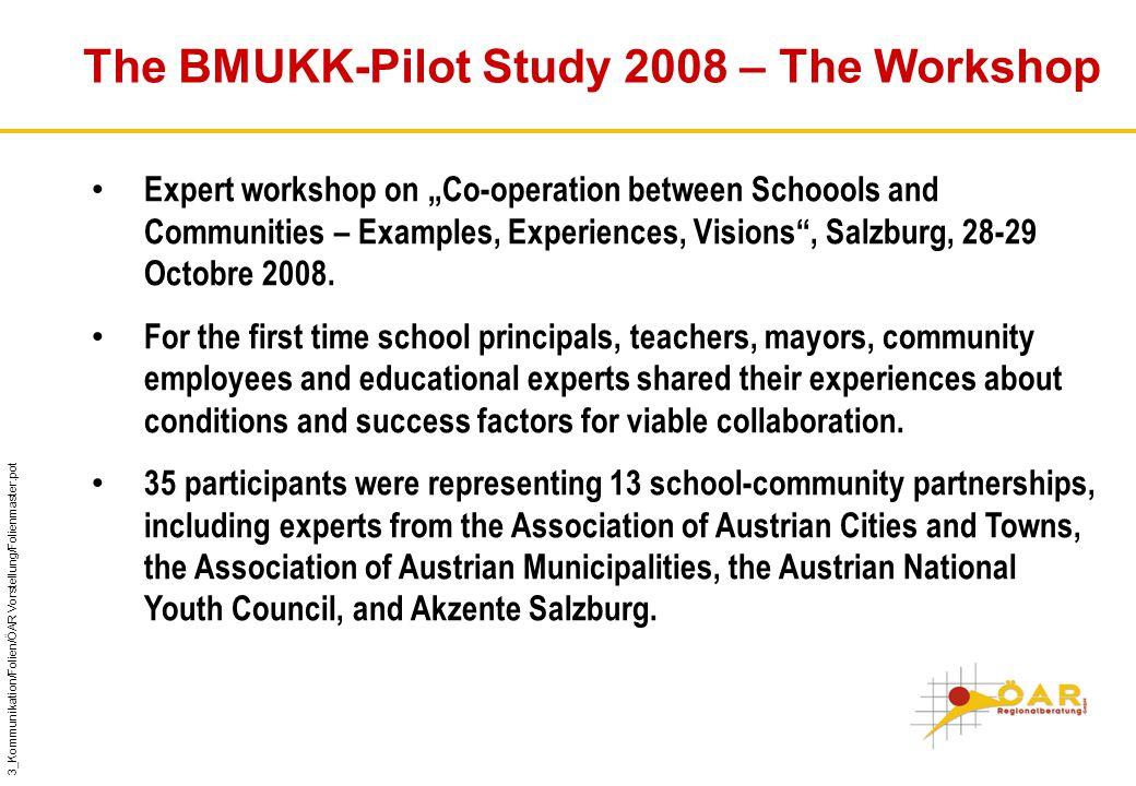 "3_Kommunikation/Folien/ÖAR Vorstellung/Folienmaster.pot The BMUKK-Pilot Study 2008 – The Workshop Expert workshop on ""Co-operation between Schoools and Communities – Examples, Experiences, Visions , Salzburg, 28-29 Octobre 2008."