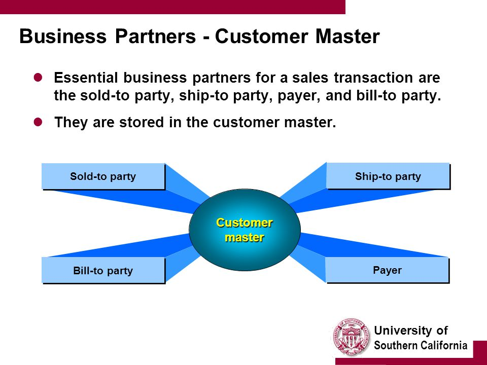 University of Southern California Business Partners - Customer Master Essential business partners for a sales transaction are the sold-to party, ship-