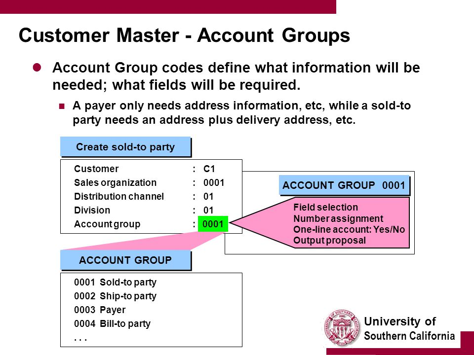 University of Southern California Customer Master - Account Groups Account Group codes define what information will be needed; what fields will be req
