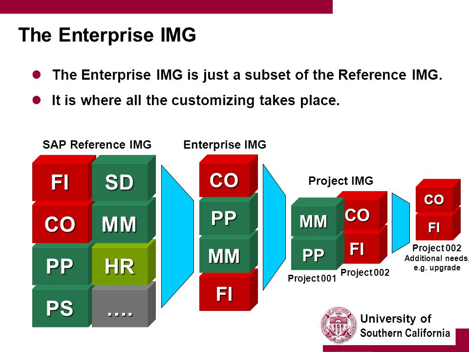 University of Southern California The Enterprise IMG The Enterprise IMG is just a subset of the Reference IMG. It is where all the customizing takes p