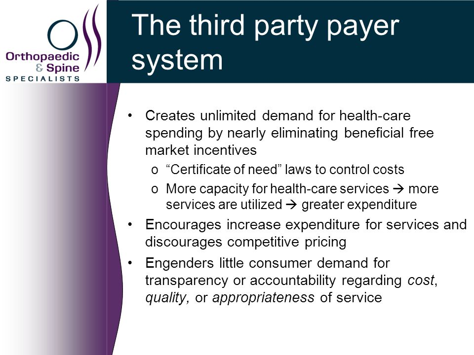 The third party payer system Creates unlimited demand for health-care spending by nearly eliminating beneficial free market incentives o Certificate of need laws to control costs oMore capacity for health-care services  more services are utilized  greater expenditure Encourages increase expenditure for services and discourages competitive pricing Engenders little consumer demand for transparency or accountability regarding cost, quality, or appropriateness of service
