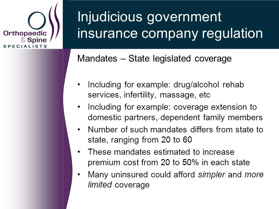 Injudicious government insurance company regulation Mandates – State legislated coverage Including for example: drug/alcohol rehab services, infertili