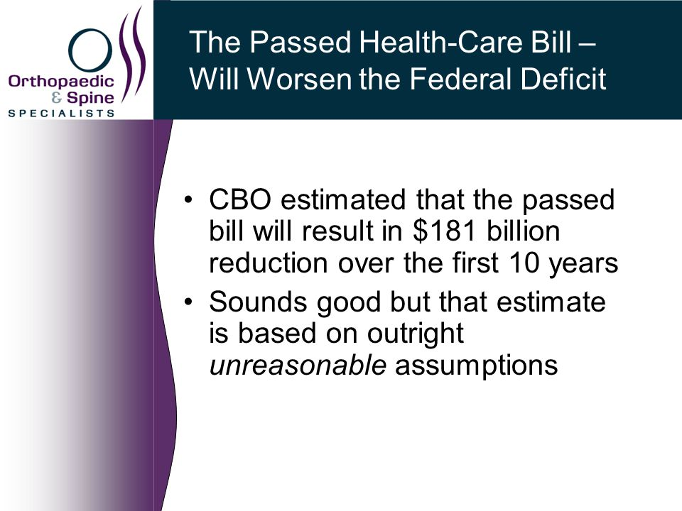 The Passed Health-Care Bill – Will Worsen the Federal Deficit CBO estimated that the passed bill will result in $181 billion reduction over the first