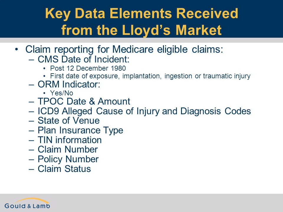 Key Data Elements Received from the Lloyd's Market Claim reporting for Medicare eligible claims: –CMS Date of Incident: Post 12 December 1980 First date of exposure, implantation, ingestion or traumatic injury –ORM Indicator: Yes/No –TPOC Date & Amount –ICD9 Alleged Cause of Injury and Diagnosis Codes –State of Venue –Plan Insurance Type –TIN information –Claim Number –Policy Number –Claim Status