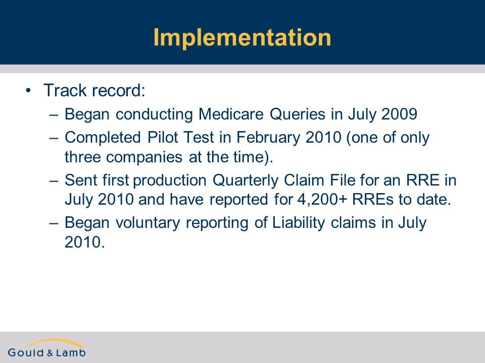 Implementation Track record: –Began conducting Medicare Queries in July 2009 –Completed Pilot Test in February 2010 (one of only three companies at the time).
