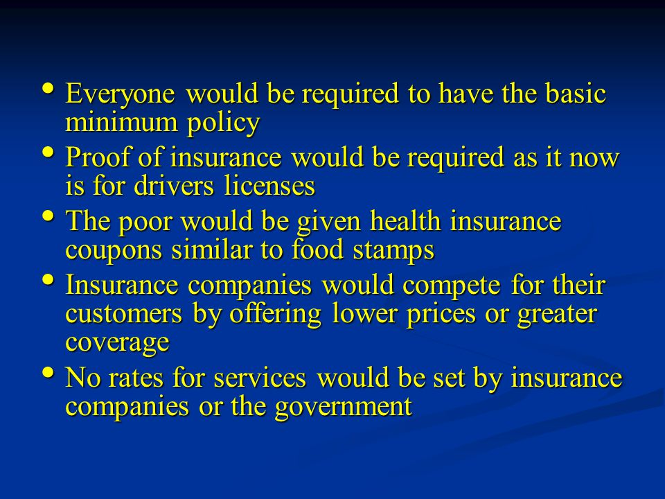 Everyone would be required to have the basic minimum policy Everyone would be required to have the basic minimum policy Proof of insurance would be required as it now is for drivers licenses Proof of insurance would be required as it now is for drivers licenses The poor would be given health insurance coupons similar to food stamps The poor would be given health insurance coupons similar to food stamps Insurance companies would compete for their customers by offering lower prices or greater coverage Insurance companies would compete for their customers by offering lower prices or greater coverage No rates for services would be set by insurance companies or the government No rates for services would be set by insurance companies or the government