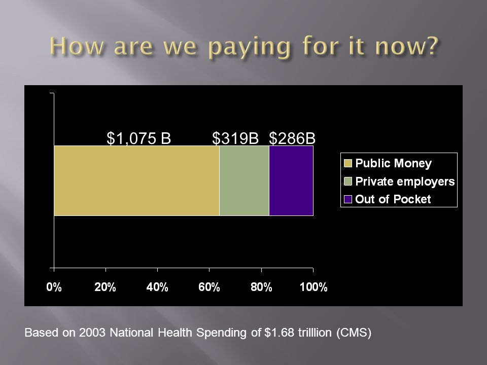 $1,075 B$319B$286B Based on 2003 National Health Spending of $1.68 trilllion (CMS)