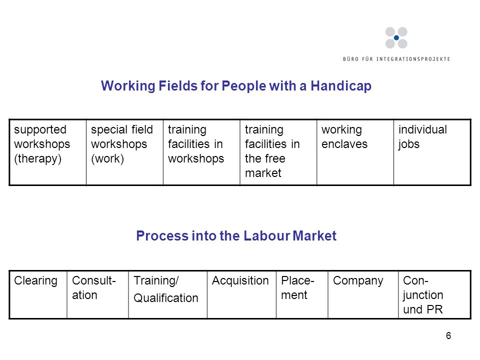 6 Working Fields for People with a Handicap supported workshops (therapy) special field workshops (work) training facilities in workshops training fac