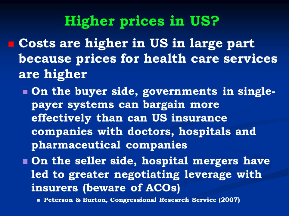 Higher prices in US.
