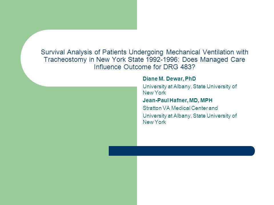 Survival Analysis of Patients Undergoing Mechanical Ventilation with Tracheostomy in New York State 1992-1996: Does Managed Care Influence Outcome for DRG 483.