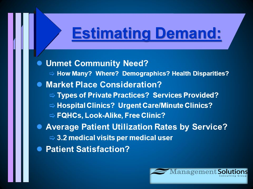 Estimating Demand: Unmet Community Need.  How Many.