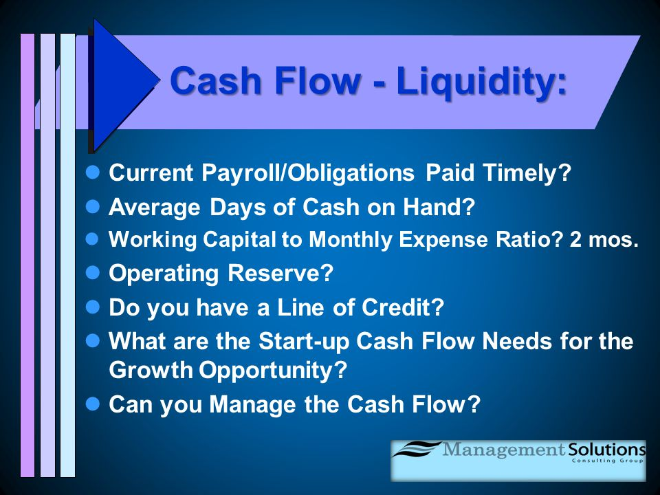 Working Capital to Monthly Expense Ratio Working Capital to Monthly Expense Ratio Measures Financial Liquidity Minimum of 1 month - with 2 months preferred Calculation: Working Capital (Audited Balance Sheet) - divided by - Average Monthly Expense (Audited Stmt Activities) (Total Expense - divided by 12 Months) This measure can be calculated for month -to-date & year-to-date results utilizing the Interim Statement of Activities.