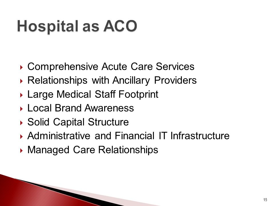  Comprehensive Acute Care Services  Relationships with Ancillary Providers  Large Medical Staff Footprint  Local Brand Awareness  Solid Capital Structure  Administrative and Financial IT Infrastructure  Managed Care Relationships 15