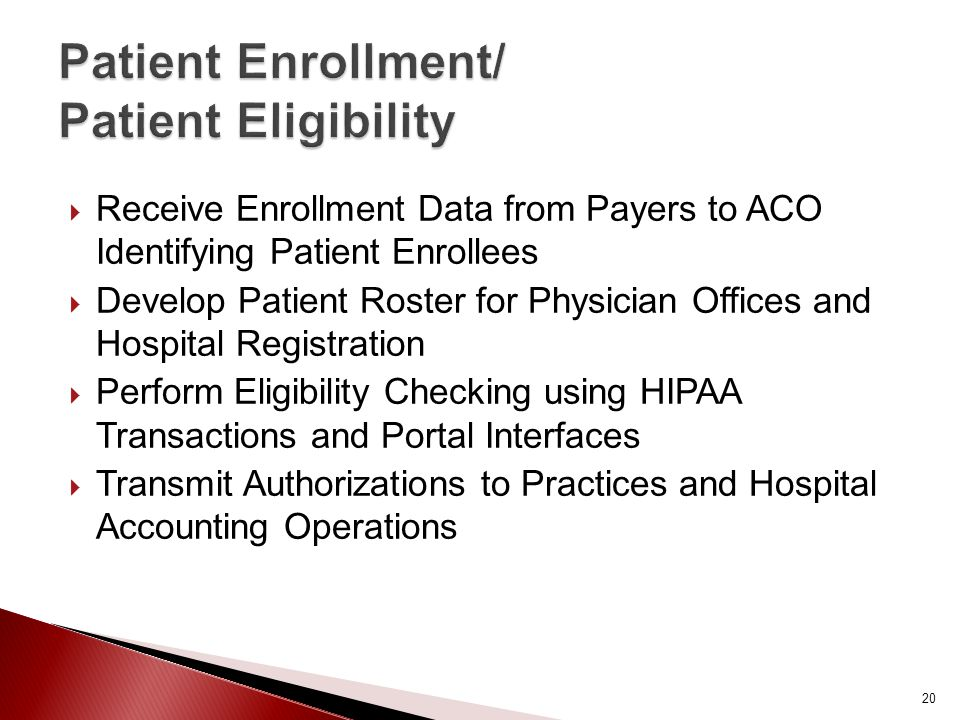  Receive Enrollment Data from Payers to ACO Identifying Patient Enrollees  Develop Patient Roster for Physician Offices and Hospital Registration  Perform Eligibility Checking using HIPAA Transactions and Portal Interfaces  Transmit Authorizations to Practices and Hospital Accounting Operations 20