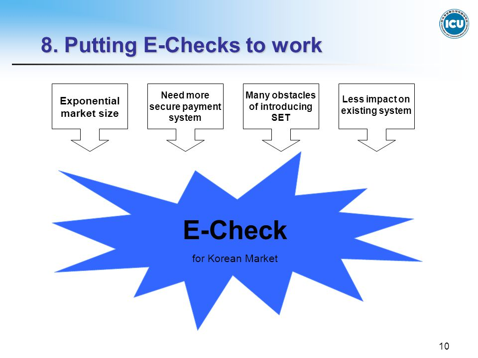 10 8. Putting E-Checks to work Exponential market size Many obstacles of introducing SET Need more secure payment system Less impact on existing syste