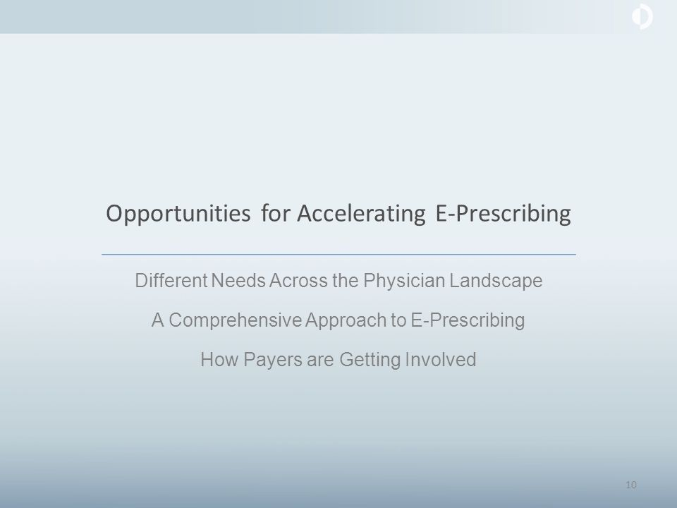 Opportunities for Accelerating E-Prescribing Different Needs Across the Physician Landscape A Comprehensive Approach to E-Prescribing How Payers are Getting Involved 10