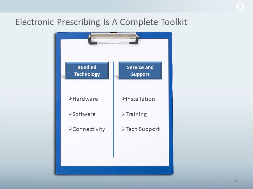 Electronic Prescribing Is A Complete Toolkit Bundled Technology Service and Support  Installation  Training  Tech Support  Hardware  Software  Connectivity 15
