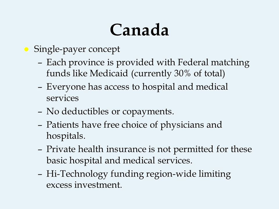 Canada l Single-payer concept –Each province is provided with Federal matching funds like Medicaid (currently 30% of total) –Everyone has access to hospital and medical services –No deductibles or copayments.