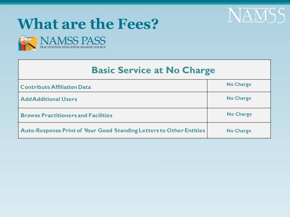 What are the Fees? Basic Service at No Charge Contribute Affiliation Data No Charge Add Additional Users No Charge Browse Practitioners and Facilities