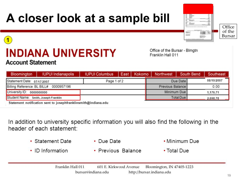 19 A closer look at a sample bill In addition to university specific information you will also find the following in the header of each statement: 1 Statement Date ID Information Due Date Previous Balance Minimum Due Total Due Statement notification sent to josephfranklinsmith@indiana.edu Smith, Joseph Franklin 0000000000 07/17/2007 08/10/2007 1,176.71 2,698.78