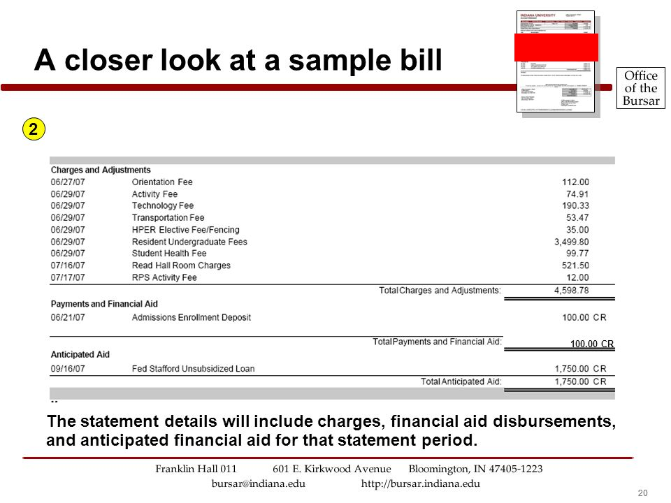 20 A closer look at a sample bill 2 The statement details will include charges, financial aid disbursements, and anticipated financial aid for that statement period.