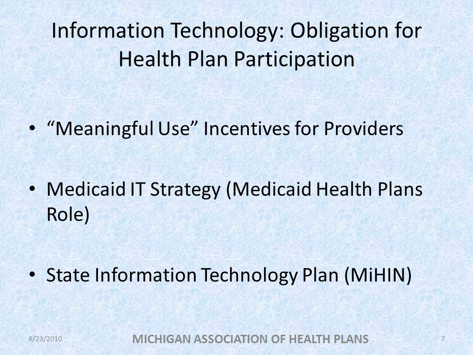 Information Technology: Obligation for Health Plan Participation Meaningful Use Incentives for Providers Medicaid IT Strategy (Medicaid Health Plans Role) State Information Technology Plan (MiHIN) MICHIGAN ASSOCIATION OF HEALTH PLANS 6/23/20107