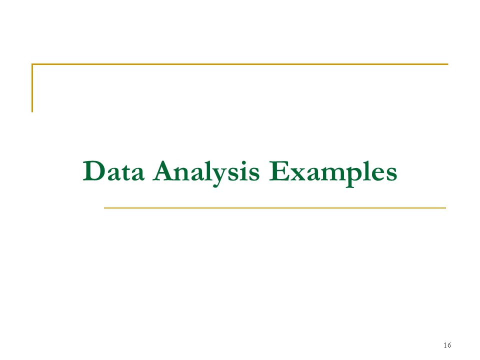 16 Data Analysis Examples