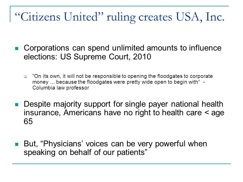 Citizens United ruling creates USA, Inc.