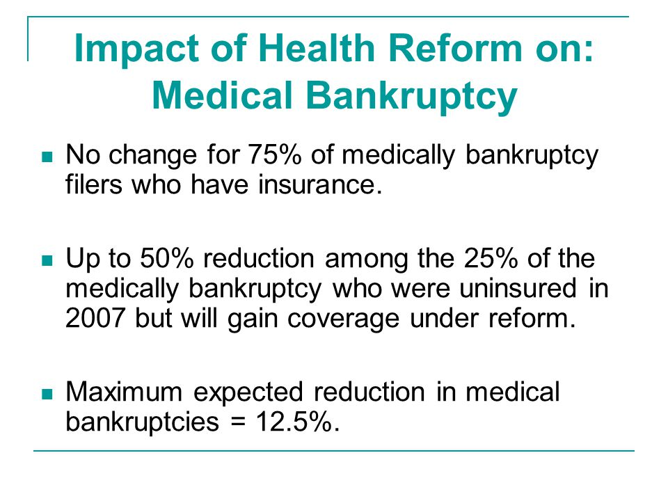 Impact of Health Reform on: Medical Bankruptcy No change for 75% of medically bankruptcy filers who have insurance.