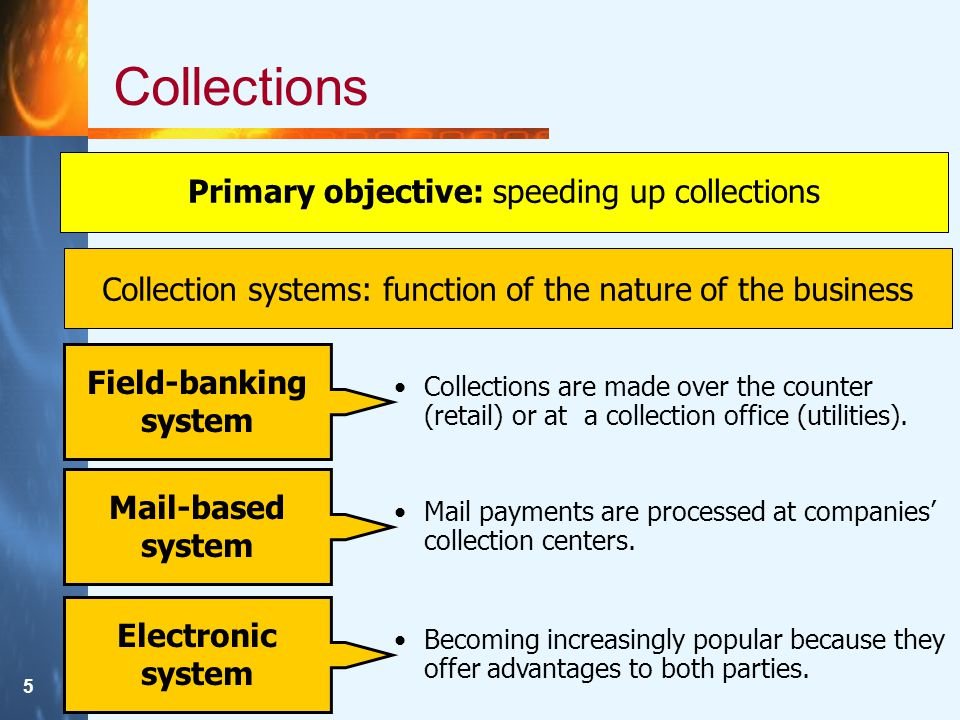 5 Collections Primary objective: speeding up collections Collection systems: function of the nature of the business Field-banking system Collections are made over the counter (retail) or at a collection office (utilities).