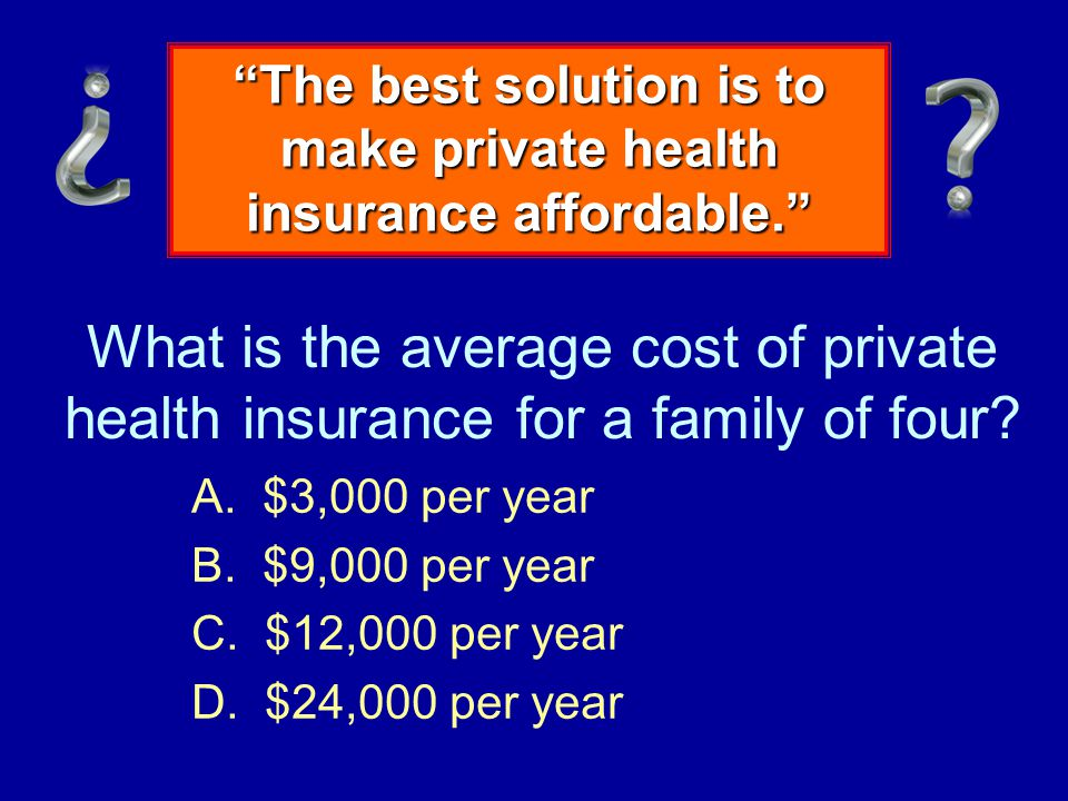 What is the average cost of private health insurance for a family of four.