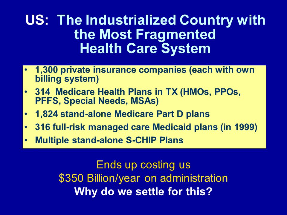 1,300 private insurance companies (each with own billing system) 314 Medicare Health Plans in TX (HMOs, PPOs, PFFS, Special Needs, MSAs) 1,824 stand-alone Medicare Part D plans 316 full-risk managed care Medicaid plans (in 1999) Multiple stand-alone S-CHIP Plans US: The Industrialized Country with the Most Fragmented Health Care System Ends up costing us $350 Billion/year on administration Why do we settle for this
